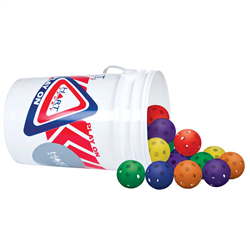 "HART Bucket of 12"" Rainbow Wiffle Balls"
