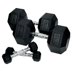 HART Rubber Hex Dumbbell Set 1kg to 30kg