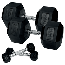 HART Rubber Hex Dumbbell Set 1kg to 50kg