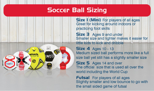 Soccer ball sizes | official football size chart, circumference.