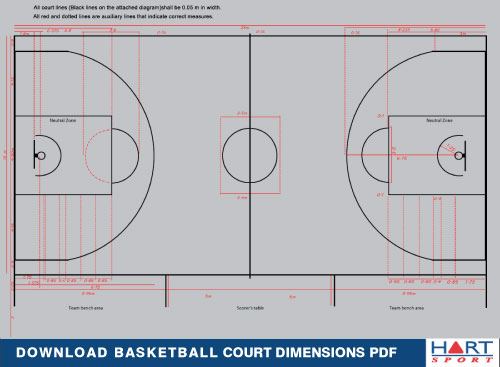 Basketball information hart sport for How big is a basketball court