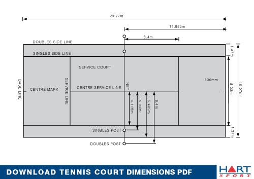 Tennis information hart sport for Sport court sizes
