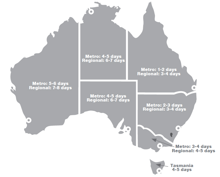 Map of Australia with delivery times to all major cities.