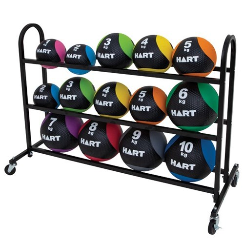 HART Rubber Med Ball Kit with Portable Rack